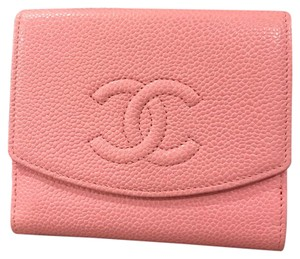 Chanel Caviar Leather Double Flap CC Logo Fold Wallet
