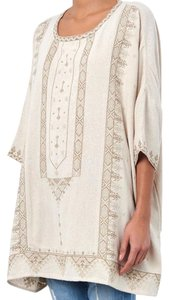 Mes Demoiselles Embroidered Raw Silk Oversized Peasant Bohemian Tunic