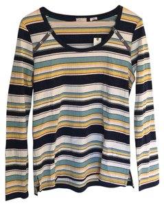 Anthropologie T Shirt Blue white yellow pink