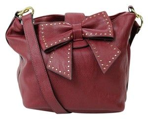 Betsey Johnson Studded Bow Maroon Gold Hardware Shoulder Bag