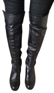 Nine West Knee High Leather Flat Heel Black Boots