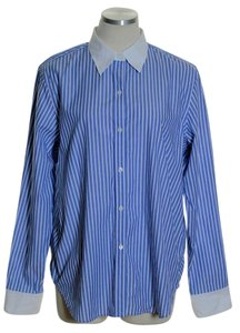 Chaps Button Down Shirt Blue White