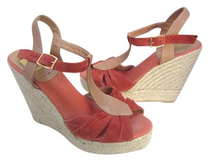 Kanna Suede Platform Sandals Espadrilles Orange Peach Tan Wedges