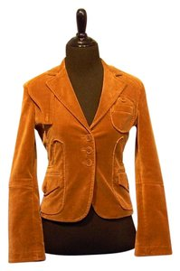 BCBGMAXAZRIA Cotton Long Sleeve Buttons Brown Jacket