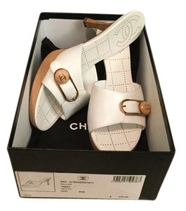 Chanel Leather Logo White Mules