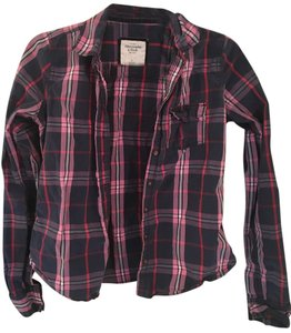 Abercrombie & Fitch Button Down Shirt Navy/ Pink