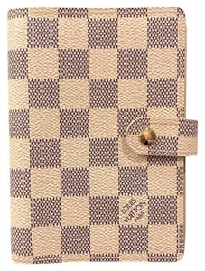 Louis Vuitton Damier Azur Leather Agenda Cover PM Diary Day Panned