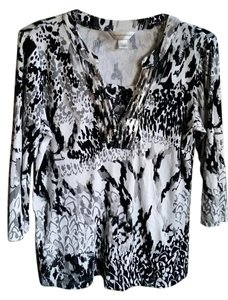 Coldwater Creek Date Night Tunic Top White & Black