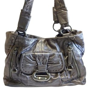 B. Makowsky Tote in metallic pewter