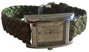 Tommy Bahama Island Green & Silver Watch with Woven Leather Strap