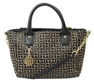 Tommy Hilfiger Jacquard Gold Hardware Satchel in black