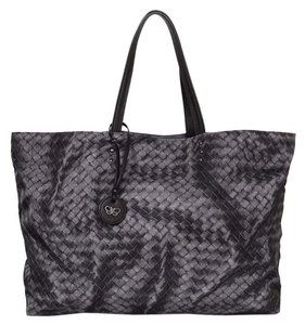 Bottega Veneta Nylon Pprint Handle Tote in black