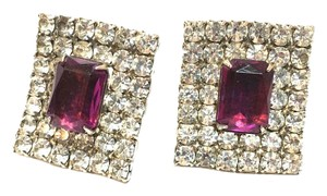 Other Vintage Glamour Clip on Earrings Ice Diamond Pave Amethyst