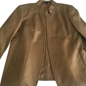 Ellen Tracy Gold matt Leather Jacket