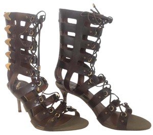 Brian Atwood Gladiator Copper Hardware Leather Brown Sandals