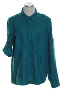 Liz Claiborne Button Down Shirt Teal Green