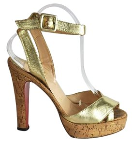 Christian Louboutin Leather Platform Gold Sandals