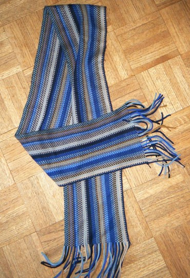 Unknown Blue Beige Striped 100% Acrylic Scarf