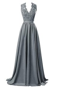 Steel Grey V-neck Open Back Chiffon Long Evening Gown With Lace Dress