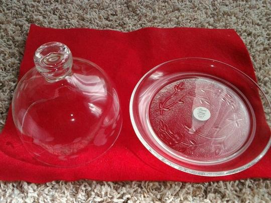 Clear Crystal Heritage Butter Dish Cheeseball Dish Serverware