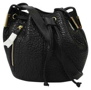 Time's Arrow Leather Drawstring Gold Hardware Cross Body Bag
