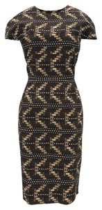 Carolina Herrera Sheath Print Fitted Classic Cotton Dress