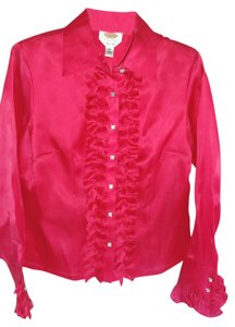 Talbots Silk Long Sleeve Top FUCHSIA