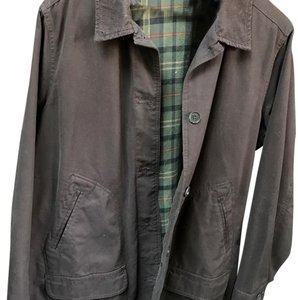 Lands' End Dark brown, green plaid flannel lining Womens Jean Jacket