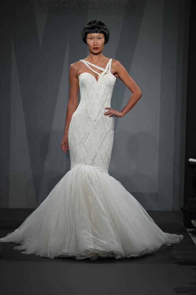Mark Zunino Off White Silk And Tulle Asymmetric Mermaid Gown In Beaded Lace Feminine Wedding Dress