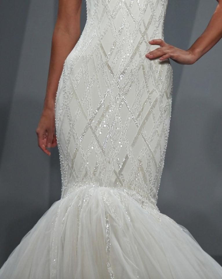 Mark Zunino Off White Silk and Tulle Asymmetric Mermaid Gown In ...