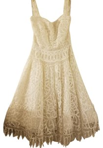 Oscar de la Renta Cotton Eyelet Tea Length Dress