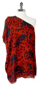 Rachel Zoe New With Tags Top Orange & Slate Print