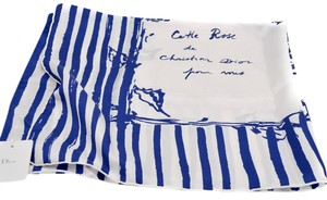 Dior dior silk scarf in white with blue stripes