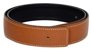 Herms Hermes Black/Tan Leather Reversible Belt Strap Sz 70