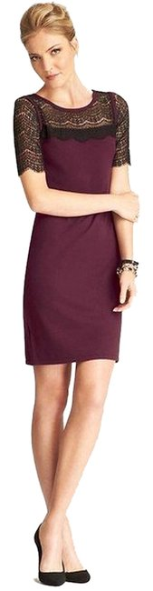 Preload https://img-static.tradesy.com/item/2007949/ann-taylor-burgundy-new-lace-overlay-sleeve-sweater-short-night-out-dress-size-petite-2-xs-0-0-650-650.jpg