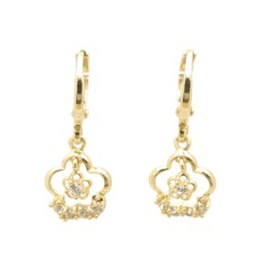 Other 14KT Gold Filled Clear CZ Lucky Clover Gold Charms Leverback Earrings