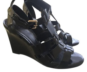 Theory Black Patent Sandals