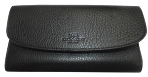 Coach F52715 New COACH PEBBLE LEATHER CHECKBOOK WALLET BLACK COLOR
