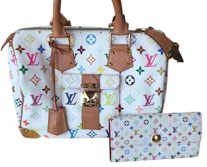 Authentic Louis Vuitton Multilcolor Speedy 30 with Matching wallet Cross Body Bag