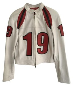 Donald J. Pliner White with red and black Leather Jacket