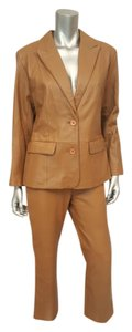 Margaret Godfrey Womens Leather Button Taupe Jacket