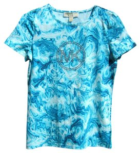 Michael Kors Tie Dye Studded Blue Small T Shirt Turquoise, Blue