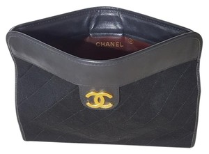 Chanel Vintage Leather Black Clutch