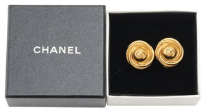 Chanel Authentic Vintage Chanel Gold Plated Button Earrings