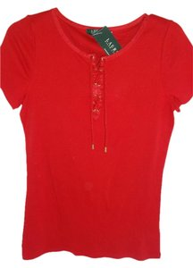 Lauren Ralph Lauren Lace Up Front T Shirt RED