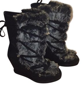 ALDO Black with grey fur Boots