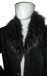 Terry Lewis Classic Luxuries Denim Faux Fur Black Womens Jean Jacket