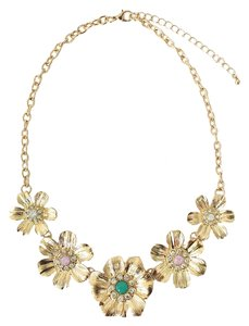 Gold Floral Jeweled Statement Necklace