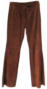 Giorgio Armani New Leather Flare Leg Trouser Pants Cinnamon Brown