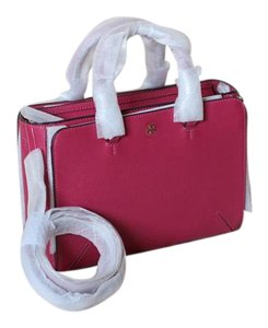 Tory Burch Saffiano Leather Gold Hardware Crossbody Adjustable Strap Removable Strap Tote in Dark Peony (pink)